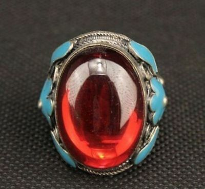 Old Miao Silver Carved Flower Inlay Red Zircon Love Ring P333