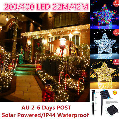 Solar 200 400 22/42M LED Icicle String Fairy Lights LED Garden Party Christmas