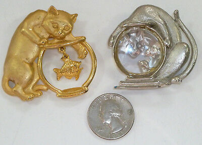 (2) JJ Jonette Cat and Fish Bowl Brooch Pins, Funny Sneaky Cats
