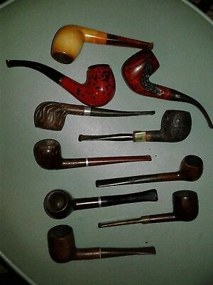Lot of 10 Vintage Tobacco Estate Pipes For Restore Repair Parts