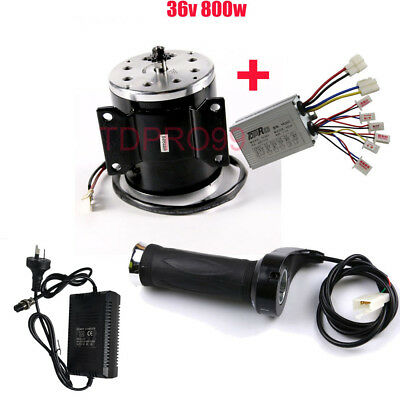 36V 800W Brush Motor + Speed Controller Throttle Grip Charger E Bike Scooters