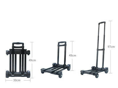 E47 Rugged Aluminium Luggage Trolley Hand Truck Folding Foldable Shopping Cart