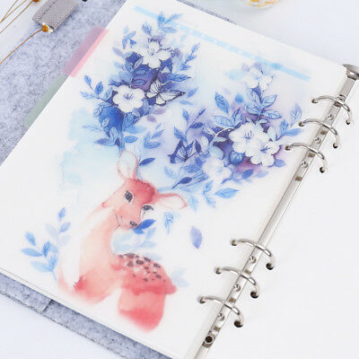 5Pcs/set Notebook Planner Partition Sheet Inside Page 6 Hole Loose-leaf Dividers