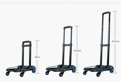 E64 Rugged Aluminium Luggage Trolley Hand Truck Folding Foldable Shopping Cart