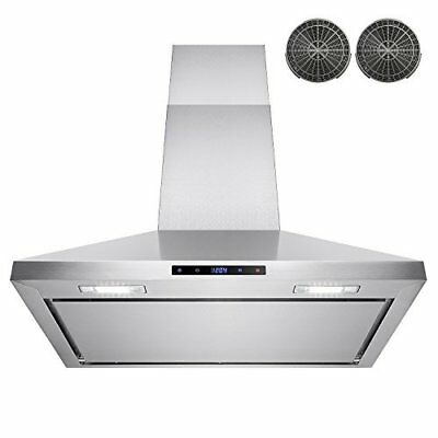 """AKDY 30"""" Wall Mount Stainless Steel Touch Control Kitchen Ductless Range Hood w/"""