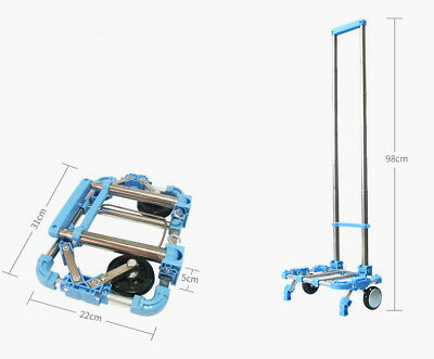 E48 Rugged Aluminium Luggage Trolley Hand Truck Folding Foldable Shopping Cart