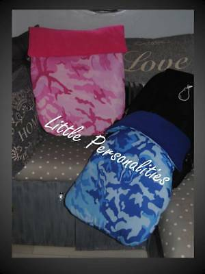 blue pink grey black camouflage combat army pram stay put blanket/footmuff