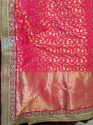 Beautiful Brocade Saree With Border Indian Pink And Ready Blouse