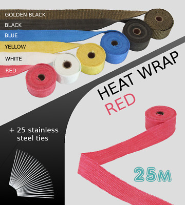 UNIVERSAL CAR BIKE EXHAUST HEAT WRAP with ties-25 METRE RED 25M-RED-VOW2