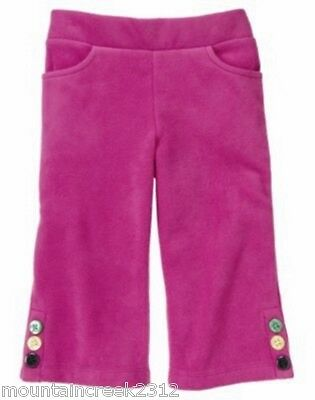 New GYMBOREE Girl's Pants Size 3 6 months MERRY & BRIGHT Fleece Button Pink Baby