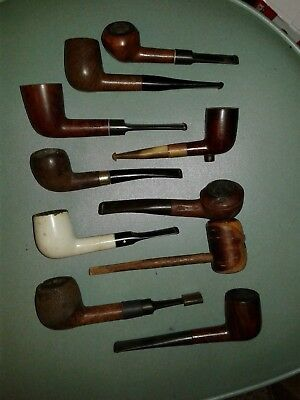 Lot of 10 Vintage Tobacco Estate Pipes For Parts Repair Restore