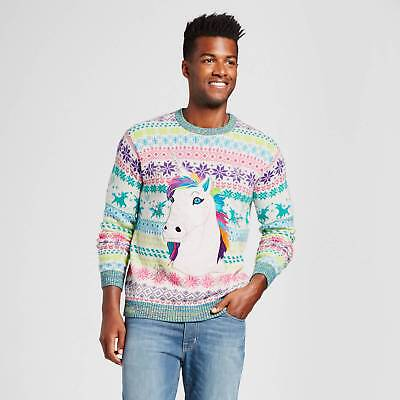 Men's Ugly Holiday Rainbow Unicorn Sweater - 33 Degrees Cream M