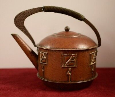 Arts and crafts copper antique secessionist hand made vintage teapot