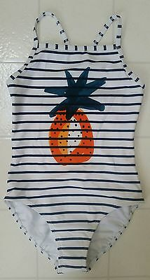 NWT Hanna Andersson ONE PIECE SWIMSUIT PINEAPPLE CROSSBACK SWIM 120 6 7 8 NEW!