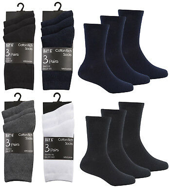 Kids 3 Pack School Socks Boys Girls Grey Navy Black White Cotton Rich Bnwt