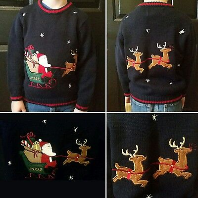 Ugly Christmas Sweater Party NWT Santa Sleigh Reindeer Embroidered Youth Size 5