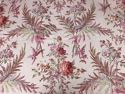 Antique French Roses & Ferns Heavy Cretonne Cotton Printed Fabric c1870