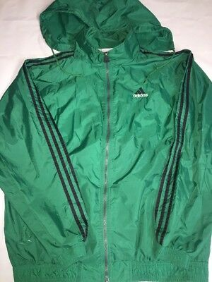 Mens Adidas Green Jacket Size Large With Hood