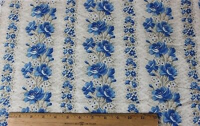 Lovely French Antique Provencal Cotton Indigo 19thC Floral Stripe Fabric c1870