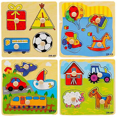 HK- Baby Toddler Intelligence Development Animal Wooden Brick Puzzle Toy Classic