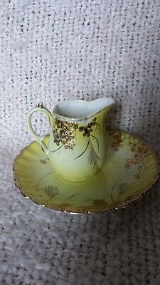 Antique Unmarked China (Likely Nippon) Small Pitcher and Plate Yellow w/Gold