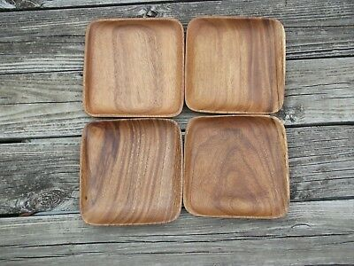 4 Genuine Monkeypod Wood Carved  Salad Bowls, hand crafted, Aberdeen of Hawaii