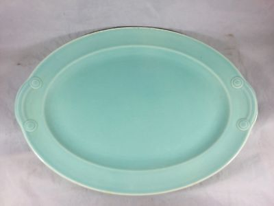Vintage Lu-Ray Pastel Surf Green Oval Serving Platter Art Deco Midcentury MCM
