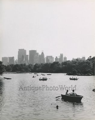 Boats on Central Park lake skyscraper vintage art photo by Duncan Steck