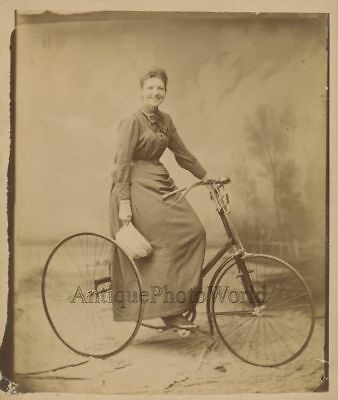 Smiling woman with great tricycle bicycle rare antique albumen art photo