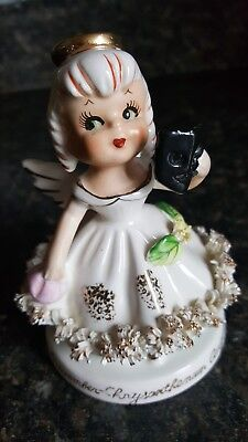 Vintage TMJ November Chrysanthemum Angel Girl W/ Mask Figurine Japan