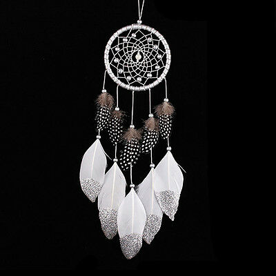 HK- Handmade Feathers Tassel Dream Catcher Wall Car Hanging Ornaments Decor Heal