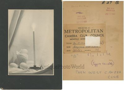 Egg and candle still life vintage art photo by R. V. Raas