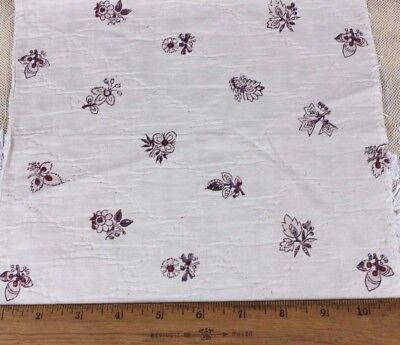 Antique French 18thC BlockPrinted Cotton Fabric~Quilted Floral &Leaf Print~Dolls