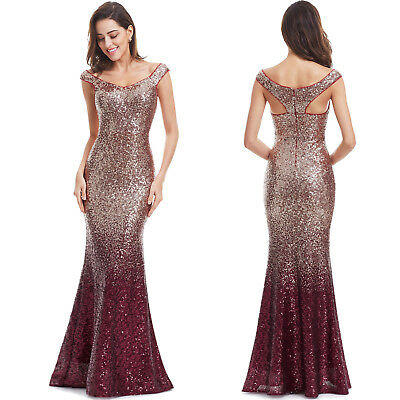 Women Sequin Fishtail Mermaid Long Formal Ball Prom Gown Party Evening Dresses