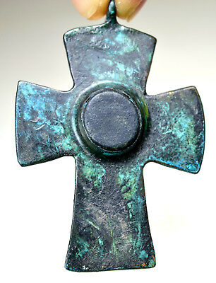 Byzantine Bronze Christian Cross Double Sided Pendant with Stone