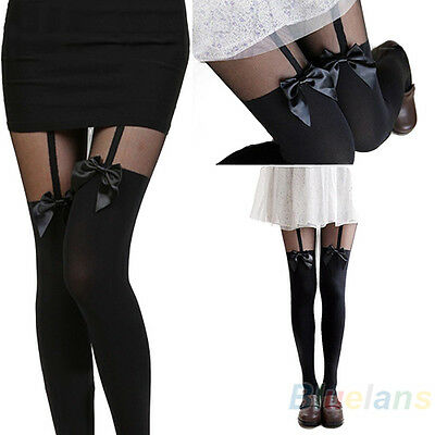 HK- Vintage Sexy Cute Stockings Pantyhose Tattoo Mock Bow Suspender Sheer Tights