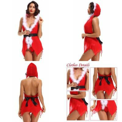 Christmas Womens Babydolls See Through Mini Skirt SantaClaus Jingle Bells Gift