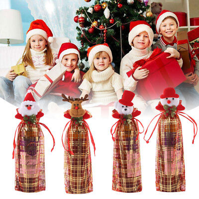 Christmas Lace Sheer Organza Wine Bottle Beer Gift Bags Party Decor Packing Bag