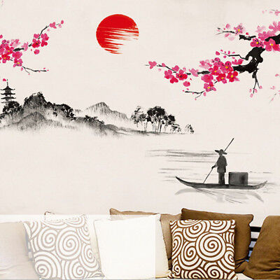 HK- Chinese Ink-wash Floral Boat Painting Vinyl Wall Sticker Decal Home Art Heal