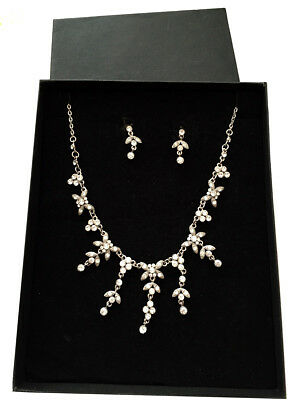 Austrian crystal bridal necklace set sparkly prom party rhinestone FREE GIFT BOX