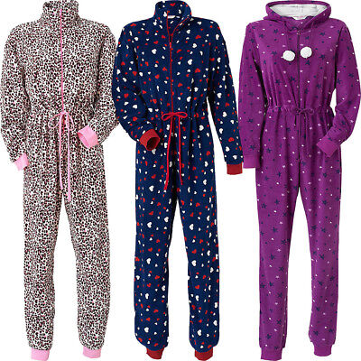 Ladies Fleece Jumpsuit All In One Stars/Animal/Hearts Size 10 12 14 16 18 20