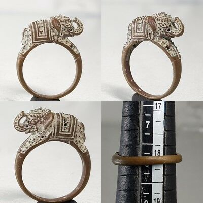 Stunning Medieval Antique Bronze Ring With Elephant On Top   # E1