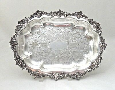 """Antique Continental Silverplate Tray 11""""x 8"""" Ornate Engraved & Raised Flora Trim"""