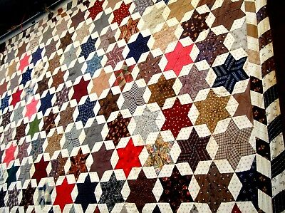 Antique Victorian Vtg Late 1800's 1910's Six Point Star Quilt Top Calico pink