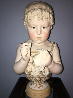 FABULOUS! ANTIQUE German LITTLE GIRL & HER NEEDLEWORK Bisque BUST So Sweet!