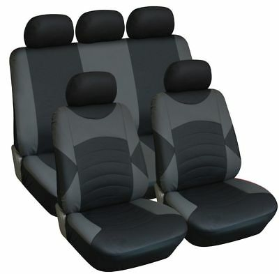 Land Rover Freelander 1 And 2 Leather Look Car Seat Cover Full Set Black / Grey