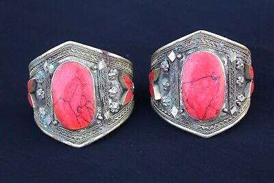 Pair Of Afghan Kuchi Coral Bracelets Vintage Antique Tribal Traditional Handmade