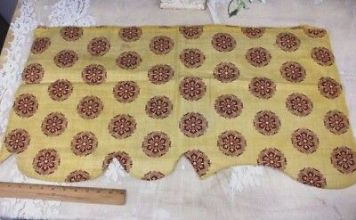 Antique French Block Printed Fabric c1820-1830~Turkey Red On Yellow Cotton