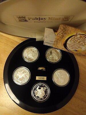 "2003 Lord of the Rings 5 Silver Proof Coin Set with the ""One Ring"" - Isle of Man"