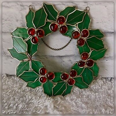 Christmas Wreath Hanging Stained Glass Holly Vintage Sun Catcher Holiday Decor